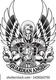guardian angel in armor holding sword