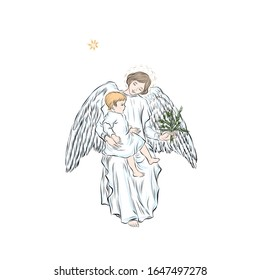 Guardian angel with baby keeps spruce branch. Biblical heavenly symbol of man with wings. Retro clip art for Christmas, Easter and other religious holidays. Illustration for children's tales.