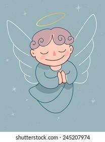 Guardian Angel Hand drawn vector illustration cartoon drawing of a guardian angel