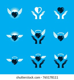 Guardian angel vector conceptual emblems collection, graphic illustrations for use in religious organizations