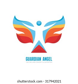 Guardian angel - vector logo template concept illustration. Human character with colored wings. Butterfly sign. Christmas symbol. Design element.