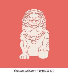 Guardian Asian dog statue flat cartoon illustration. Traditional Komainu dog, ancient Japanese culture banner design. Mythology ornamental China background