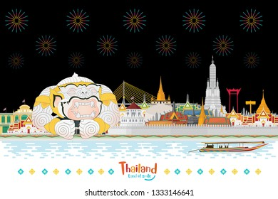 Guardian Giant in Thailand and Landmarks and travel place at night. flat design