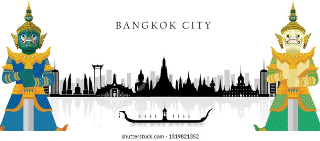 Guardian Giant in Thailand, Silhouette to Bangkok in Thailand and Landmarks and travel place. background