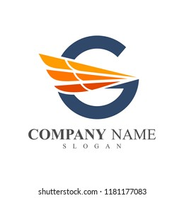 Guardian Logo, Letter G With Wing Logo Template