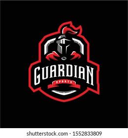 guardian mascot logo illustration. guardian esport gaming logo emblem.