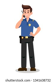 Guardian with Radio Transmitter Cartoon Character. Bodyguard Flat Vector Illustration. Security Service. Keeper, Policeman, Watchman on Mission. Police Officer at work Isolated Design Element