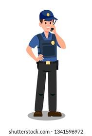ウォルキーなタルキーの漫画のキャラクターを持つガーディアン。ミッションのボディガード。帽子と防弾チョッキを着た警官。ガーディアン分離型ベクター画像図面。警察官、監視員、捜査官
