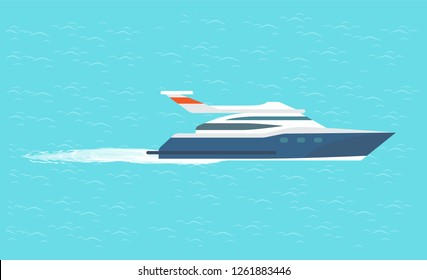 Guarding transport boat in deep ocean, rescue emergency sailboat. Coast guard transportation vehicle sailing in blue water vector illustration isolated