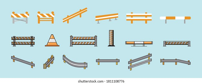 Guardrail and Road barrier vector illustrations isolated on blue background