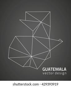 Guatemala contour black vector map