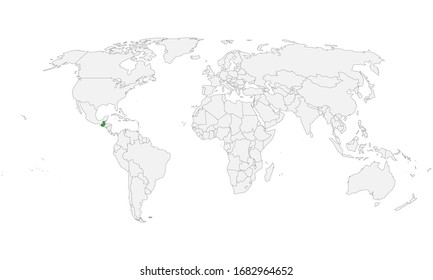 Guatemala country highlighted on world political map. Light gray background. Perfect for backgrounds, business concepts, backdrop, banner, label, sticker, chart, and wallpapers.