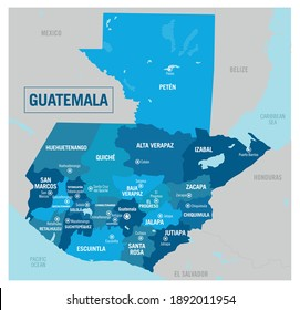 Guatemala country political map. Detailed vector illustration with isolated provinces, states, regions, departments, and cities easy to ungroup.