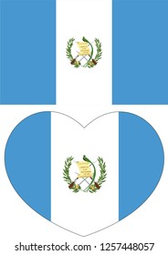 Guatemala flag in a Heart vector, sticker
