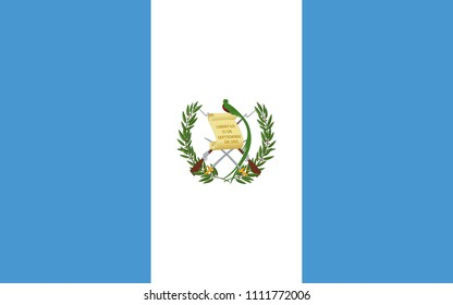 Guatemala flag with official colors and the aspect ratio of 5:8. Flat vector illustration.
