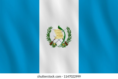 Guatemala flag with waving effect, official proportion.