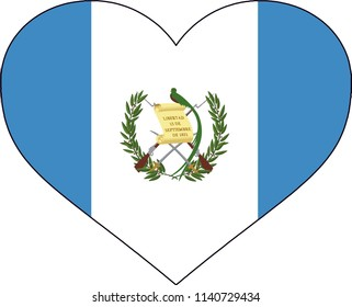 Guatemala Guatemalan Country Flag Shaped Heart Illustration