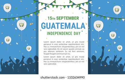 Guatemala Independence Day Greeting Card. Flying Flat Balloons In National Colors of Guatemala. Happy Independence Day Vector Illustration. Guatemalan Flag Balloons.