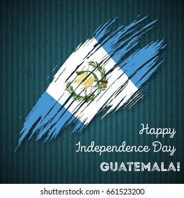 Guatemala Independence Day Patriotic Design. Expressive Brush Stroke in National Flag Colors on dark striped background. Happy Independence Day Guatemala Vector Greeting Card.