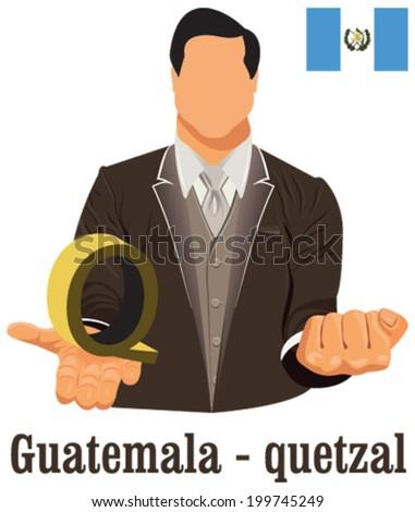 Guatemala National Currency Guatemalan Quetzal Symbol Stock Vector