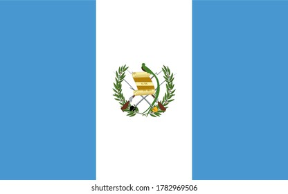 Guatemala national flag. Vector drawing of Standart size.