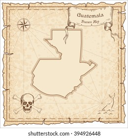 Guatemala old pirate map. Sepia engraved template of Guatemala pirate map. Stylized Guatemala pirate map on vintage torn paper.