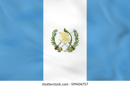 Guatemala waving flag. Guatemala national flag background texture. Vector illustration.