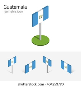 Guatemalan flag (Republic of Guatemala), vector set of isometric flat icons, 3D style, different views. Editable design elements for banner, website, presentation, infographic, poster, map. Eps 10