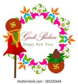 Gudi padwa Indian lunar new year's Day celebrated by Marathi Hindus, Konkani with clay pot,kalash,flower,coconut.Eps10
