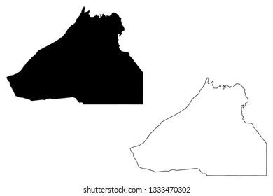 Guelmim-Oued Noun Region (Administrative divisions of Morocco, Kingdom of Morocco, Regions of Morocco) map vector illustration, scribble sketch Guelmim-Oued Noun map