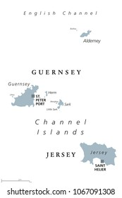 Guernsey and Jersey political map. Channel Islands. Crown dependencies. Archipelago in English Channel off the French coast of Normandy. English labeling. Gray illustration on white background. Vector