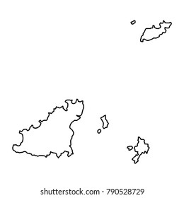 Guernsey map of black contour curves on white background of vector illustration