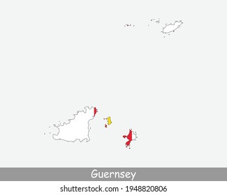 Guernsey Map Flag. Map of Guernsey with flag isolated on white background. Jurisdiction of the Bailiwick of Guernsey, United Kingdom, UK. Vector illustration.