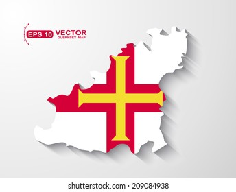 Guernsey map with shadow effect