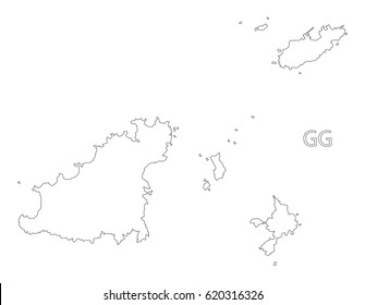 Guernsey outline silhouette map illustration