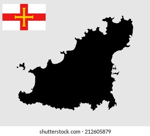 Guernsey vector map and vector flag isolated on white background silhouette. High detailed illustration.