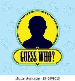 Guess who banner with man avatar and in light blue color