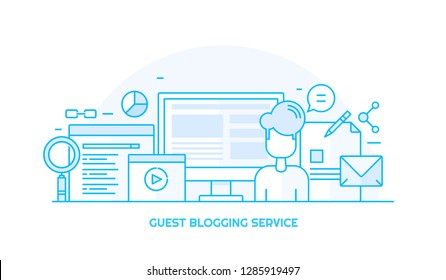 Guest blogging - Blogging service - Blog post - Business blog content - flat line vector illustration with icons