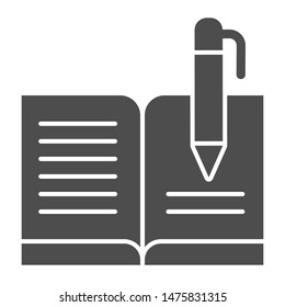 Guest book with pen solid icon. Registry book vector illustration isolated on white. Writing glyph style design, designed for web and app. Eps 10