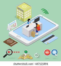 guest check in on mobile phone for hotel booking online concept