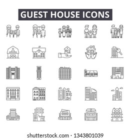 Guest house line icons for web and mobile design. Editable stroke signs. Guest house  outline concept illustrations