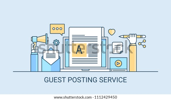 Guest Posting Service Blog Content Blog Stock Vector (Royalty Free