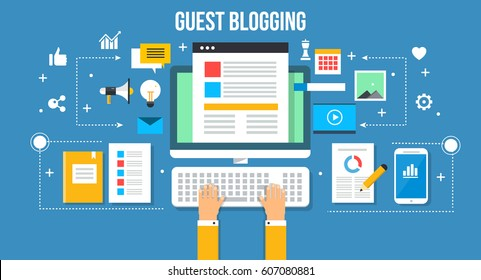 Guest posting, writing, developing and publishing content for blog flat vector concept