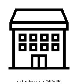 Guesthouse flat line icon. Multi unit dwelling, flat or apartment building. Real estate property linear vector illustration. Isolated on white background.