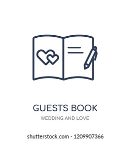 Guests book icon. Guests book linear symbol design from Wedding and love collection. Simple outline element vector illustration on white background.