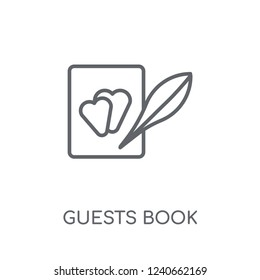 Guests book linear icon. Modern outline Guests book logo concept on white background from Birthday party and wedding collection. Suitable for use on web apps, mobile apps and print media.