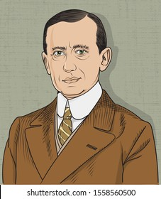 Guglielmo Marconi isolated cartoon portrait, vector. He was an Italian inventor and electrical engineer,