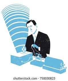 Guglielmo Marconi vector illustration