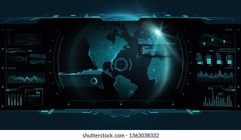GUI HUD futuristic interface earth globe, world