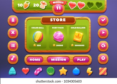 GUI start playing field match 3 -design for  mobile format window with options buttons, game items.